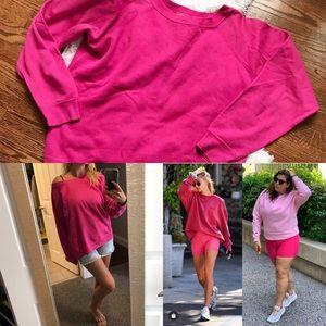 Pink oversized crewneck sweatshirt